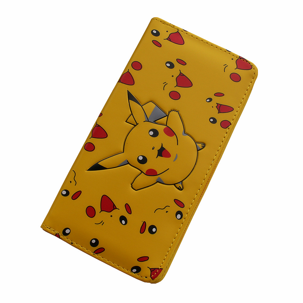 Anime PU Yellow Purse Button Wallet Printed with Pikachu of Pikachu/Colorful Folding Wallet anime pu short yellow purse button wallet printed with pikachu of pikachu