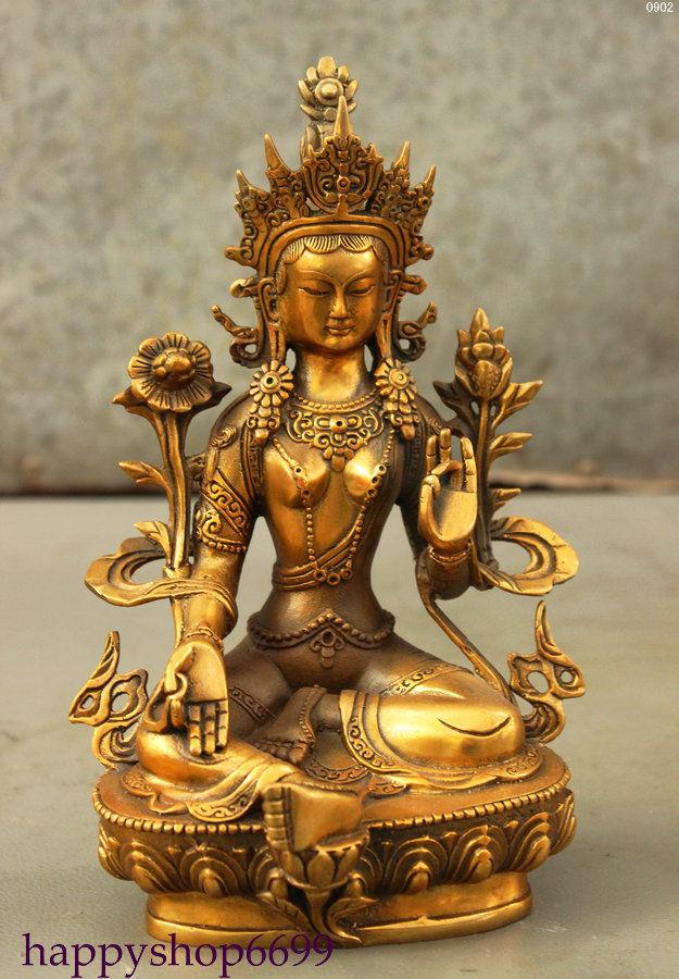 8 Tibet Buddhism Bronze Gilt Lotus Green Tara Goddess