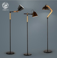 Floor Lamp With Metal Rod And Wood Arm Adjustable Light Marble Base