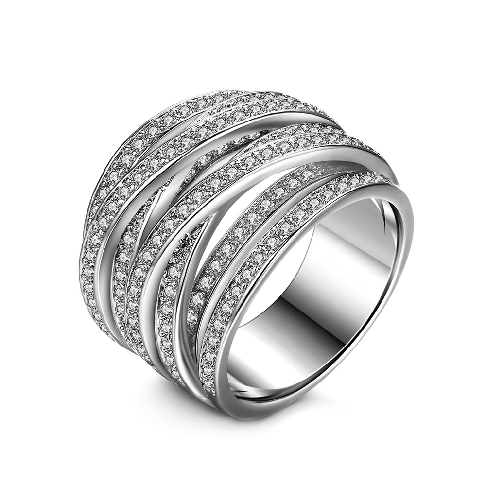 SINZRY JEWELRY Micro Paved Cubic Zircon Multi-circle Twist Statement Finger Rings For Women Lady Exaggerated Trendy Ring
