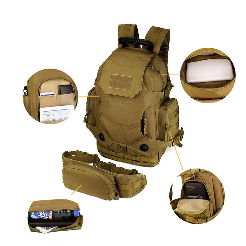 40L 2 مجموعة حقائب السفر التكتيكية على ظهره حقائب التخييم العسكرية حقائب الظهر المشي لمسافات طويلة الرجال في الهواء الطلق الرياضة الظهر + الخصر حزمة XA612WA