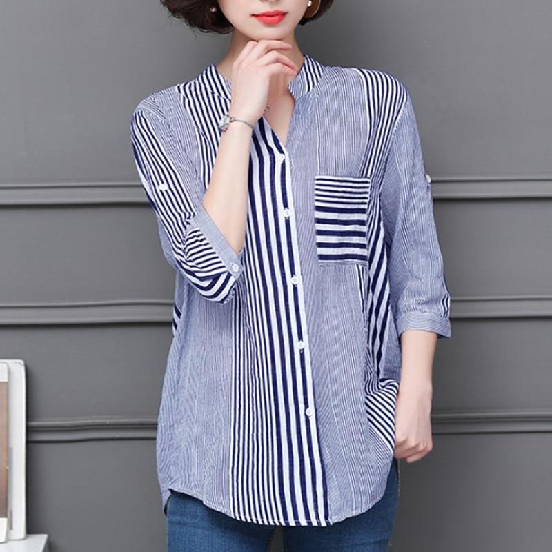2018 Autumn Office Lady Shirts Women Striped Work Shirt Casual Buttons Down Blouse Women Casual Top Blusas Blue Shirts Plus Size