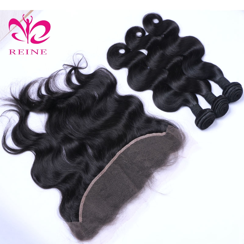 REINE BODY WAVE 100% human hair peruvian hair classic nature color 4 bundles with frontal equipment of beauty none remy ...