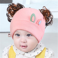 Baby Hat Knitted Cap For Girls Boys Funny Infant Hats Winter With Wig Newborn Photography Props Baby Accessories(China)