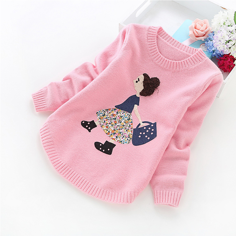 2018 autumn and winter new girls' sweaters children clothes 4-14 years girls sweater B8001 children autumn and winter warm clothes boys and girls thick cashmere sweaters