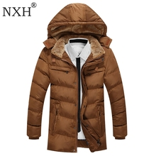 NXH 2017 New Arrival Mens Winter Thick Casual coat Zipper Solid Warm Five Pockets Men Parka High Quality Brand Jackets Clothing