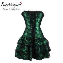 Burvogue Sexy Underbust Corset and Bustier Lace Evening Women Casual Dress Plus Size Push Up Gothic Corset Dress