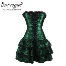 Burvogue Sexy Underbust Corset and Bustier Lace Evening Women Casual Dress Plus Size Push Up Gothic Corset Dress