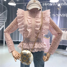 Women's Elegant Ruffled Hollow Out Lace Blouse