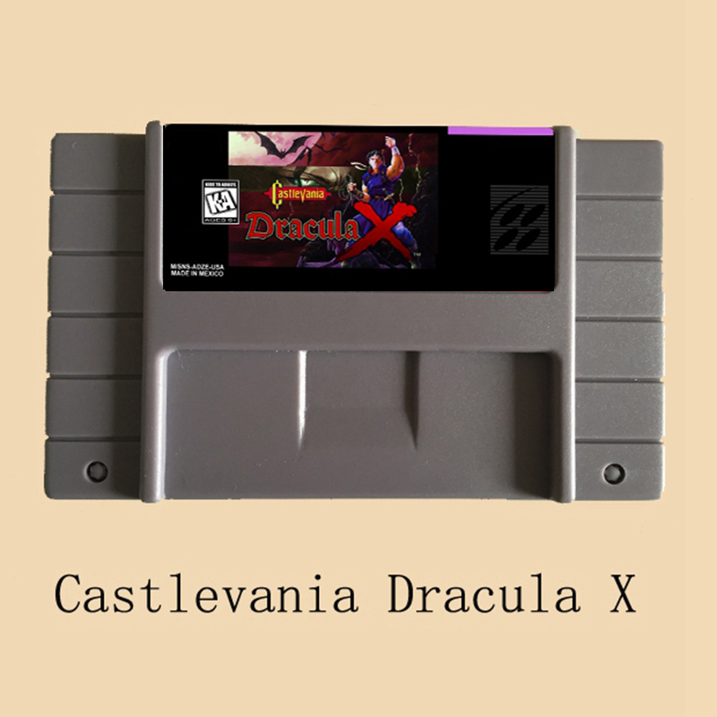 Castlevania Dracula X 16 bit Big Gray Game Card For USA NTSC Game Player image