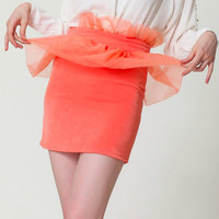 SIPAIYA Women S Sexy Lace Ruffles Mini Skirt Solid Orange Black Young Women Skirts 2017 Summer