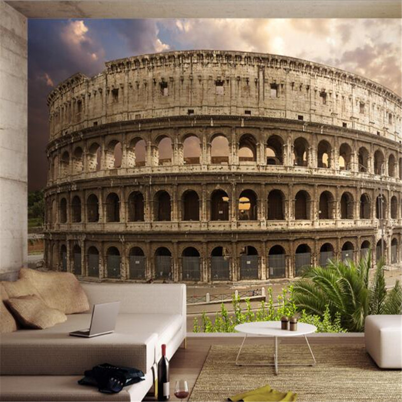 custom 3d photo high quality non-woven wallpaper Roman arena landscape 3d background mural wallpaper home decor for living room home decor wallpaper 3d luxury damask non woven wallpapers vertical stripes paper contact living room background wallpaper mural