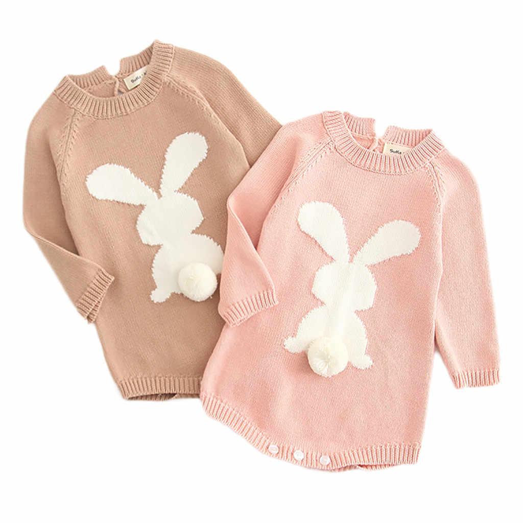 Recién Nacido bebé niña dibujos animados tejer conejo Pom suéter Tops mono ropa