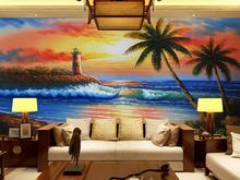 купить European oil painting 3D large mural wallpaper seaside view wallpaper colorful landscape wall paper for TV Sofa background deco дешево