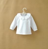 Retail one piece Girls white cute ruffles collar t shirt Children casual Princess tees for 0-6 Y Baby girls fashion tops