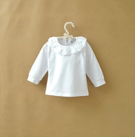 Retail One Piece Girls White Cute Ruffles Collar T Shirt Children Casual Princess Tees For 0