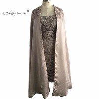 Leeymon Strapless Lace Knee Length Mother Of The Bride Dress With Cape Beaded Elegant Mother Of