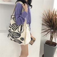 Women Canvas Shoulder Bag Leaf Printing Female Large Capacity Shopping Bag Lady Eco Pure Cotton Beige Handbag Junior Miss Tote Handbags