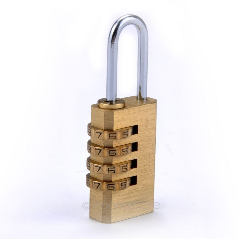 New 4 Digit Metal Gold Combination Lock Password Number Security Plus Padlock for Travel Luggage Security 9