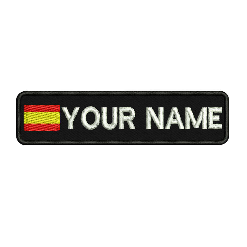 Custom SPAIN name patches tags personalized iron on hook backing embroidered