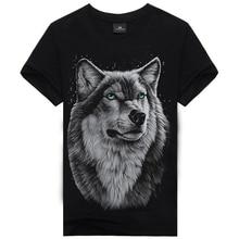 New 2016 Causul Men's Wear Wolf Wang 3D Printed T Shirt Men ,Black Cotton One-Neck Hip Hop T Shirt