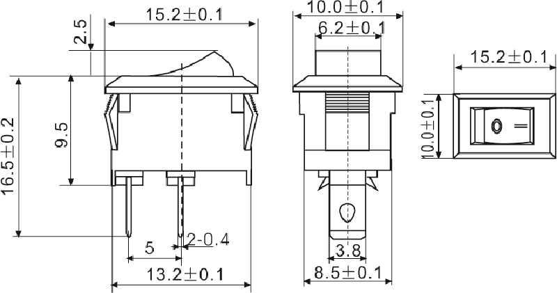 1000 pcs/lot Petit Interrupteur À Bascule 10X15mm 2 Pied 2 Fichier Power Bouton Bascule Interrupteur Rouge Tête