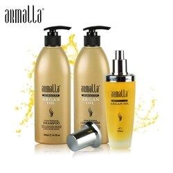 Nuovi Prodotti Best di Vendita 3pcs Armalla Marocchino Shampoo 500ml + 500ml + 100ml Olio di Argan asciutto Prodotti Per La Cura Dei Capelli Set