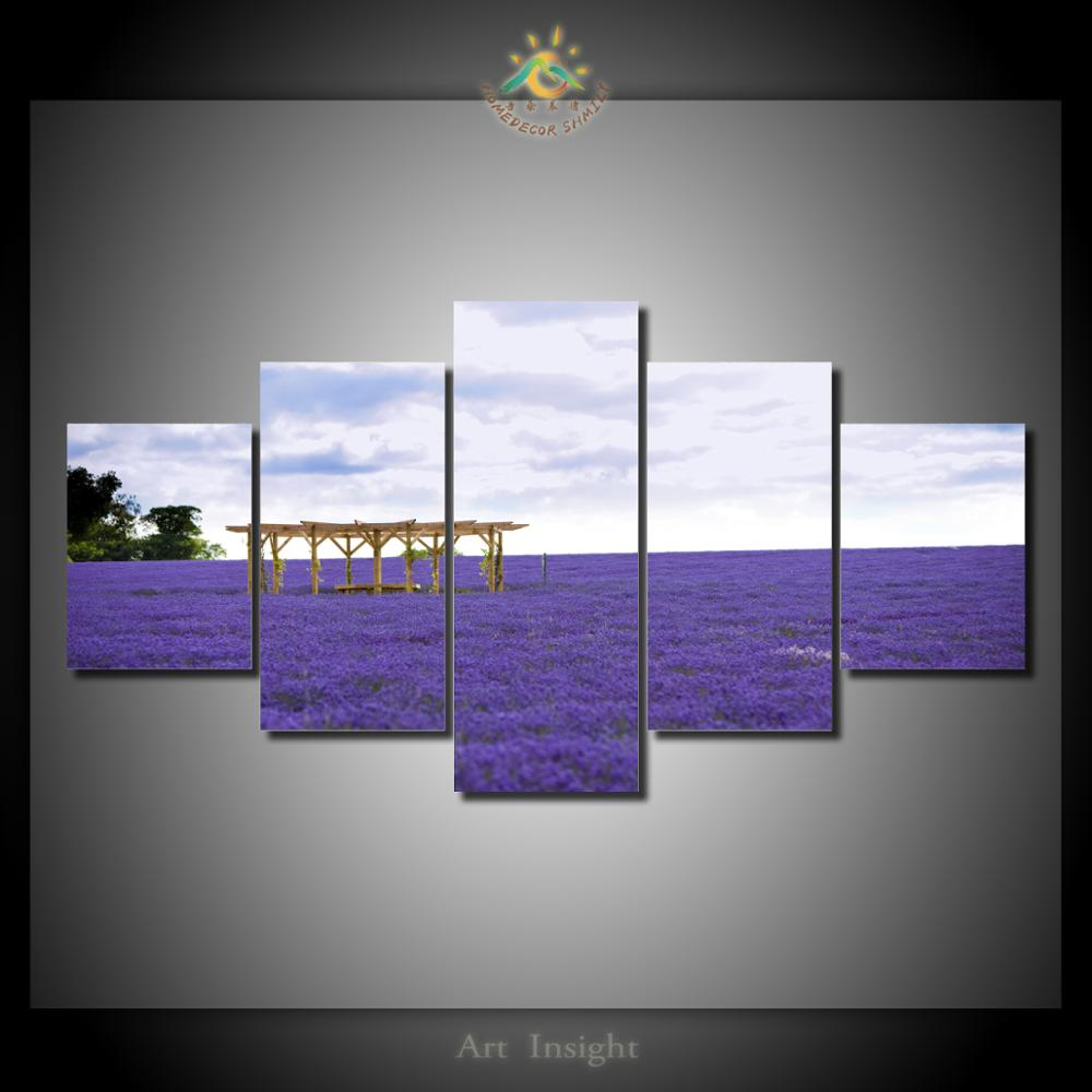 Flower Field 5 Pieces/set Wall Art Paintings Picture Print on Canvas for Home Decoration Wall Art Picture for Living Room