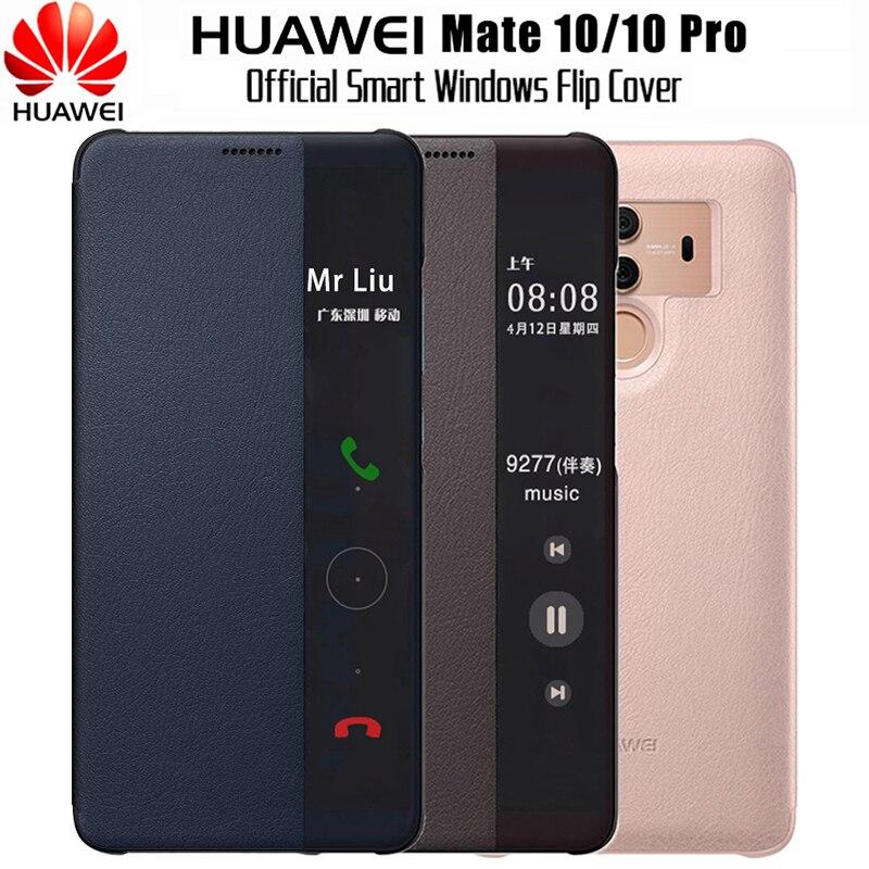 HUAWEI Compagnon 10 Cas D'origine 100% Miroir Officiel Smart View Fenêtre En Cuir Flip Cas Huawei Compagnon 10 Pro Cas Mate10 couverture Fondamentale