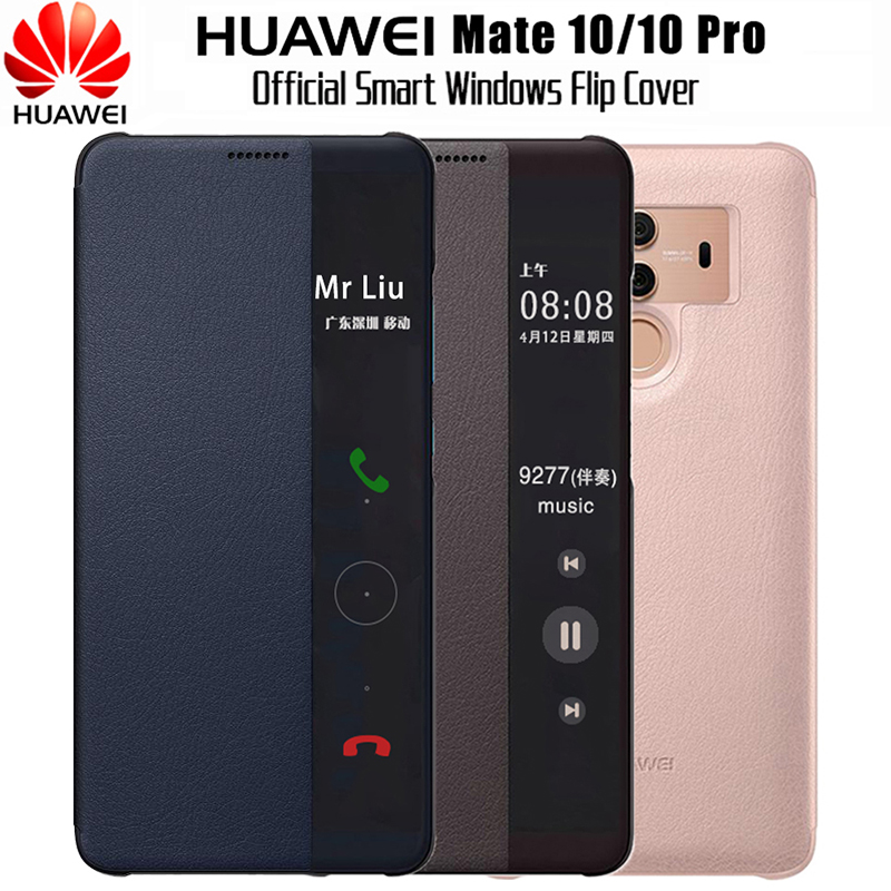 pretty nice 7d2d7 5145b US $13.19 40% OFF|HUAWEI Mate 10 Case Original 100% Official Mirror Smart  View Window Leather Flip Case Huawei Mate 10 Pro Case Mate10 Cover Funda-in  ...
