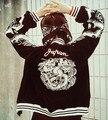 Горячие Японские Harajuku ЙОКОСУКА Чувствовать Себя Дракон Вышивка Cool Jacket С Длинным Рукавом Бейсбол Повседневная Пиджаки Высокое Качество Черный & Синий