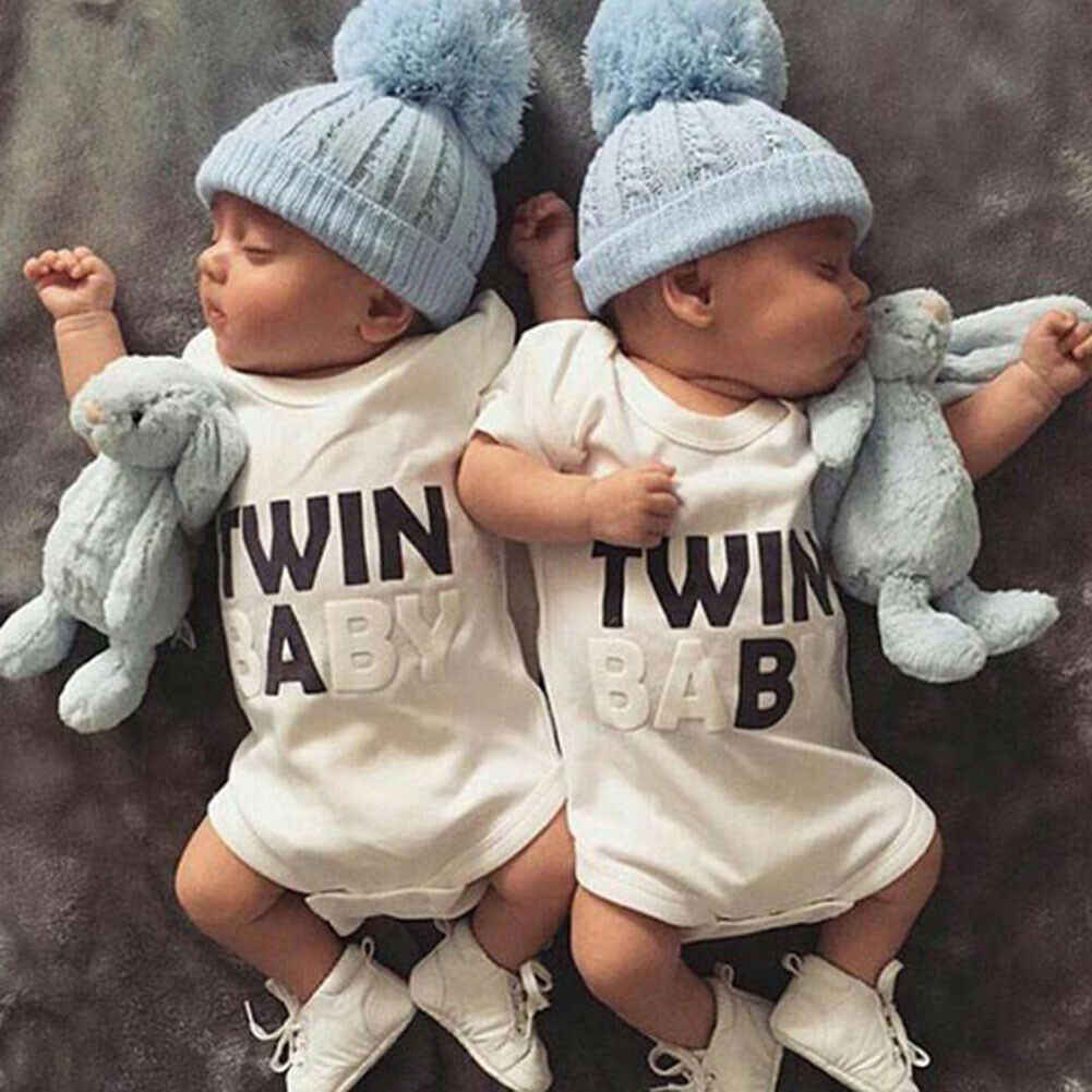 Newborn Infants Toddlers Baby Boy Girl Summer Cute Twins A B Letter Print White Cotton Romper Jumpsuit Clothes Outfits Set 0 18m Aliexpress
