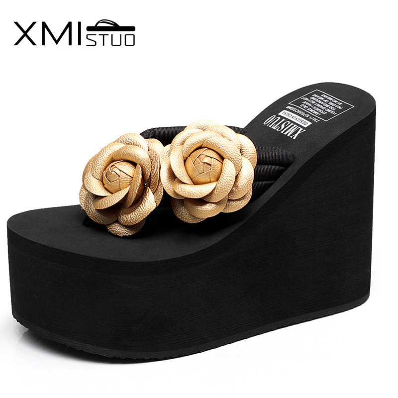 XMISTUO Increased 12cm fashion handmade flowers high heel flip flops slip slope with thick Korean female pinch beach sandals