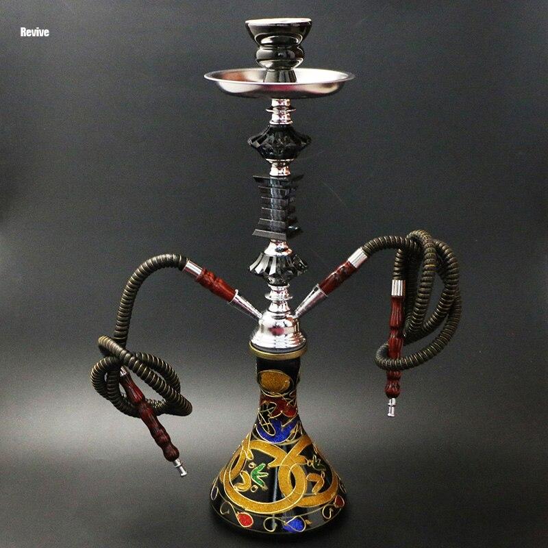 Relance narguilé ensemble complet base en verre shisha noir principalement chicha 2 tuyaux narguilé céramique narguilé alliage tige tuyau d'eau
