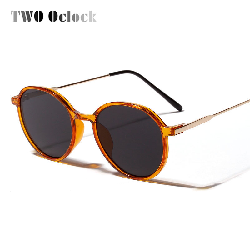 TWO Oclock NEW Round Sunglasses Retro Women Men Brand Designer Sunglass Vintage Orange Glasses UV400 Coating Lunette 8813044