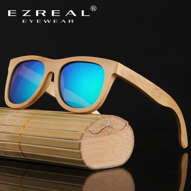 96d2f8b6cf93dd EZREAL 2017 Rétro Bambou Bois lunettes de Soleil Hommes Femmes Marque  Designer Lunettes Or Miroir Lunettes