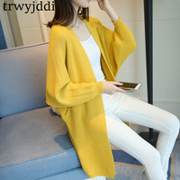 Plus Size Korean Sweater Cardigans Women 2018 New Spring Autumn Long Casual V neck Bat Sleeves Sweater Knitted Trench Coat hl530