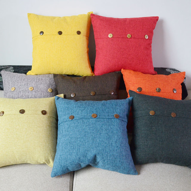Solid Colors Cushion Cover Button Decoration Fundas Cojines Blue Red