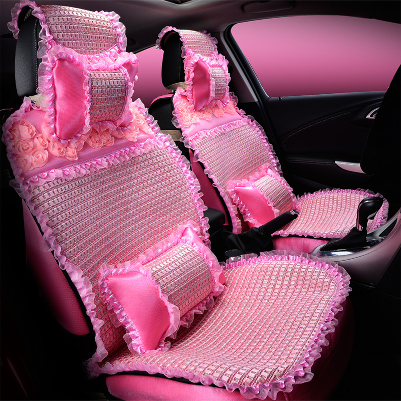 Girls Woman Brand Fashion Cartoon Lace Cotton Flower Rose Pink Universal Car Seat Cover Set In Automobiles Covers From Motorcycles On