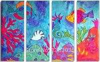 Mundo Submarino Pintado A mano Paisaje Pintura Al Óleo 4 Unidades Abstracta Moderna Del Arte de la Lona Foto Decoración de la Pared Para Niños Dormitorio