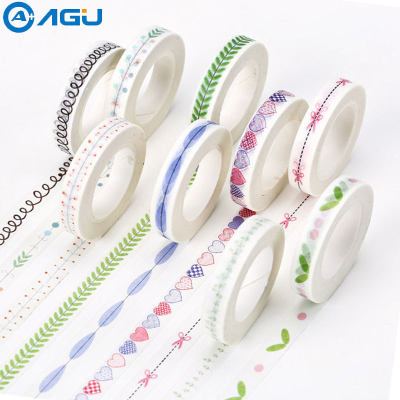 AAGU 1PC 8mm*10m Heart Fish Slim Washi Tape DIY Scrapbooking Sticker Office Suppy Masking Tape
