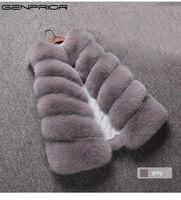 GENPRIOR 2017 New Winter Women Faux Fur Plus Size Cardigan Vest Shrug Sweater Sleeveless Stitching Long Vest Female Warm Jacket