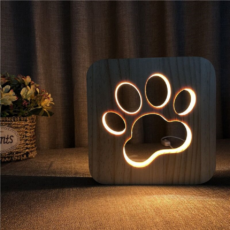 US $19.27 41% OFF|New Wooden Dog Paw 3D Night LED Lamp Kids Bedroom  Decoration Warm White Unique Light Birthday Party Gift for Children  Friends-in LED ...