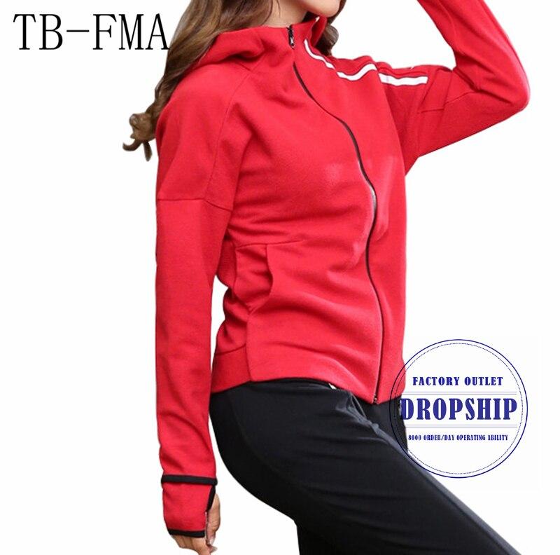 TB-FMA Yoga chemises pardessus entraînement haut Sport d'hiver à manches longues course Gym sweat tissu Fitness Zipper veste d'extérieur