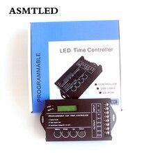 オリジナル DC12V   24 v 20A TC420 プログラマブル時間 led コントローラ 5 チャンネル cct 薄暗い rgb rgbw led ストリップ調光器 + usb ポート + cd ディスク