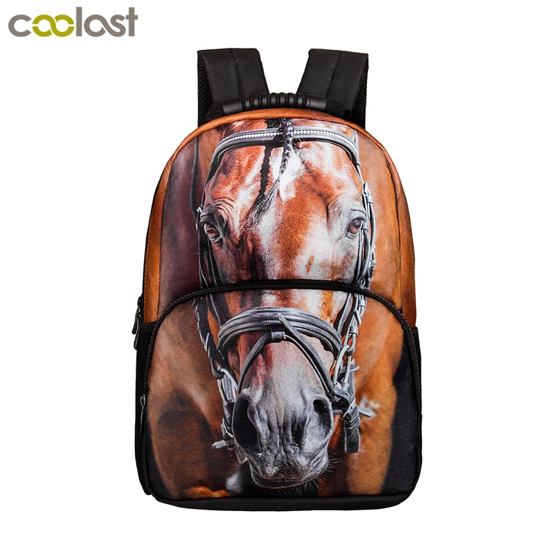Fashion Animal Horse / Dinosaur Backpack For Teenage Children School Bags Boys Girls School Backpack Gift Men Women Travel Bags stylish 3d wild tiger leopard tree limb pattern pu bow tie for men