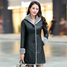 Faux Leather Suede Women Jacket Coat Long Hooded Female Winter Outerwear & Coats Casual Warm Faux Fur Ladies Jacket Parka 2017