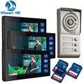 3 Unit 7inch Touch key SD Card video recoding Video Intercom Apartment Door Phone Camera Apartment 3 Unit Intercom Entry System