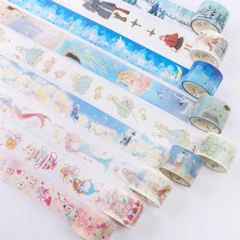 5M-7M Fairy tale series Scrapbooking DIY Planner Scrapbooking decorative tape Japanese washi tape masking tape School Supply все цены