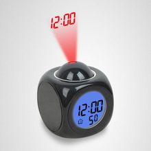 Projection Small Alarm Clock LED Creative Night Light  c
